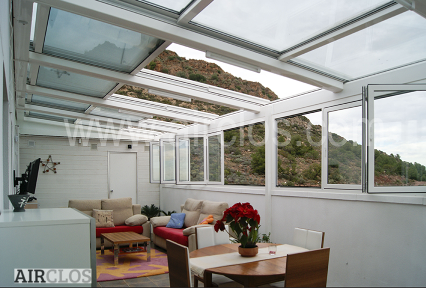 Retractable Roof Skylight AirClos T5000 3-PANEL TRIPLE