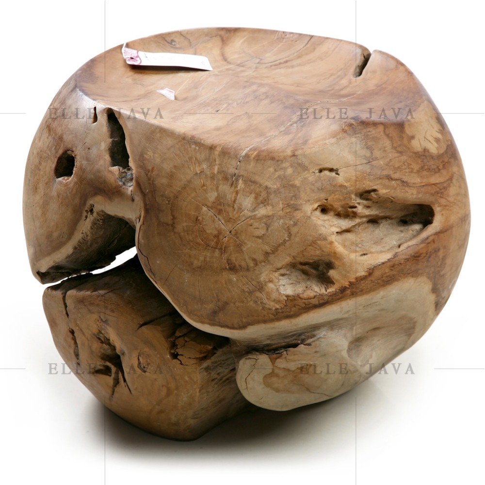 Teak Wood Round Ball Stool Garden Furniture