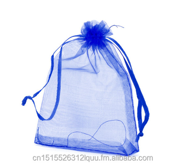 "Dark Blue Organza Wedding Gift Bags &Pouches <strong>W</strong>/Draw String 12x9cm(4-3/4""x3-1/2""), sold per packet of <strong>100</strong>"