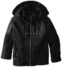 Urban Republic Little Boys' Faux Leather Jacket with Removable Hood