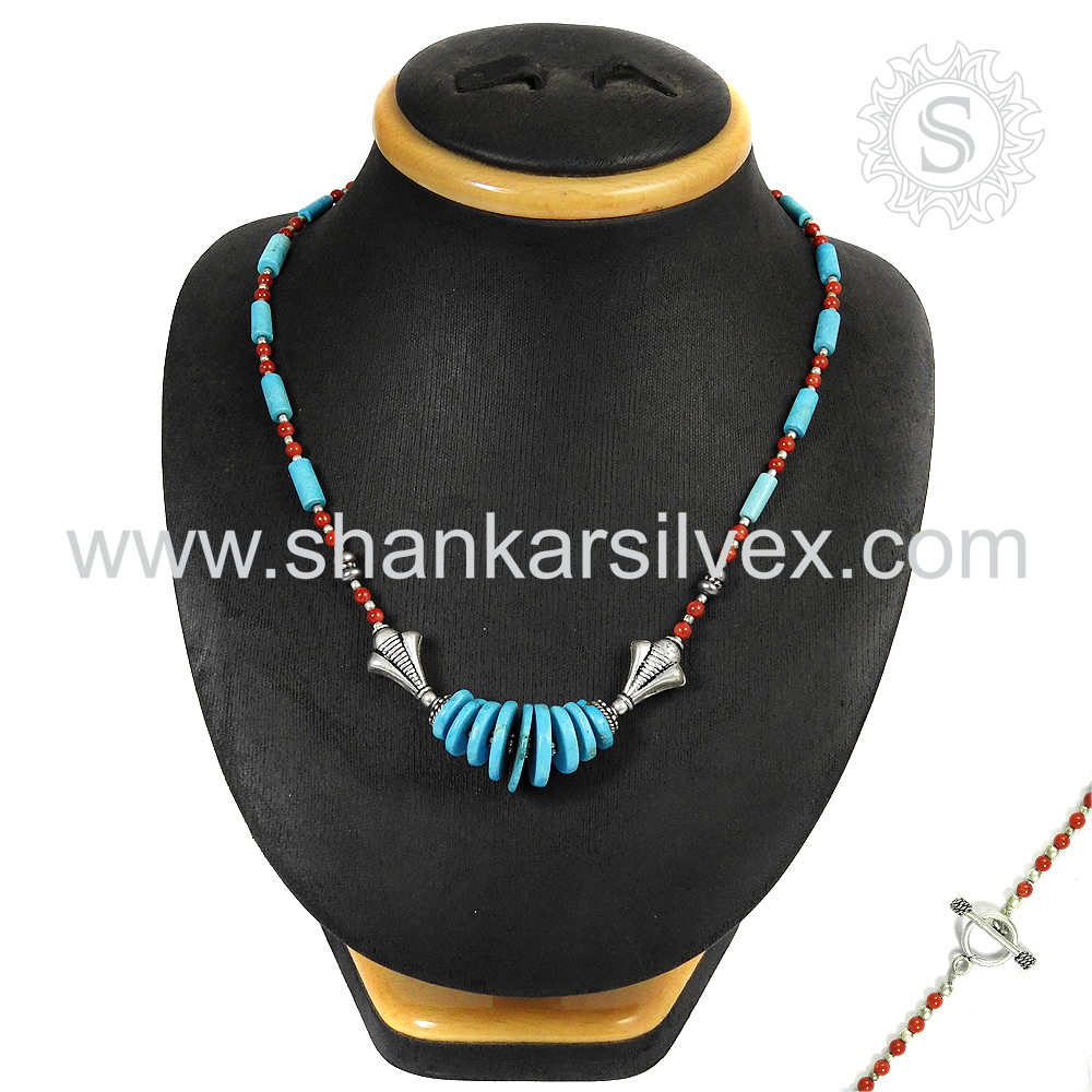 Heavy Indian Fashion Jewelry Coral & Turquoise Necklace 925 Silver Jewelry Manufacturer