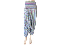 Elastic Waist Pants Boho Hmong Gypsy Genie Aladdin Style Baggy Trouser Cotton Fabric Stuff