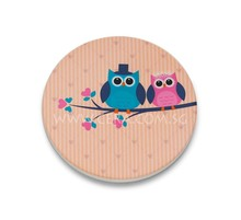 Water absorbent ceramic coaster - Owls in Love - Wedding favour, wedding gift