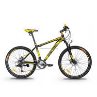 "GARION 26"" Alloy MTB Bike Mountain Bike with Disc Brake 21 Speed Matte Black with Yellow"