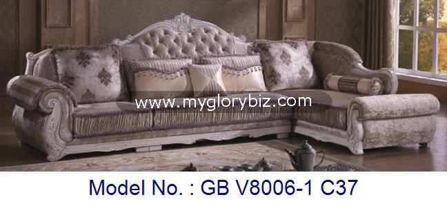 Antique Royal Design Wooden Fabric Corner Sofa Set Luxury Home Furniture For Living Room