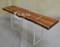 Modern Sleek Live Edge Wooden Table