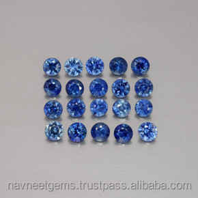 Buy loose wholesale faceted normal cut 1.2mm round thailand blue sapphire