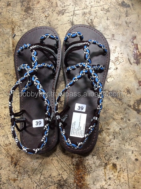 Thailand Hill tribe/beach handmade black rope shoes