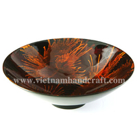 black Wholesalers of lacquerware products with hand painted orange fireworks