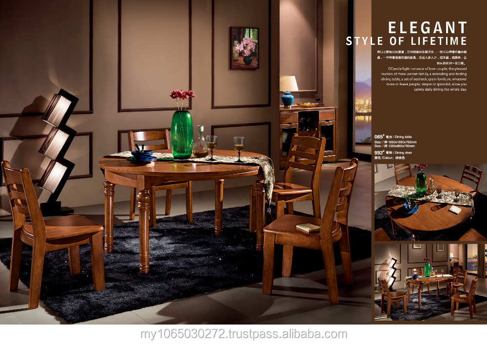 French style dining set/round extendable dining table set/solid wood home furniture