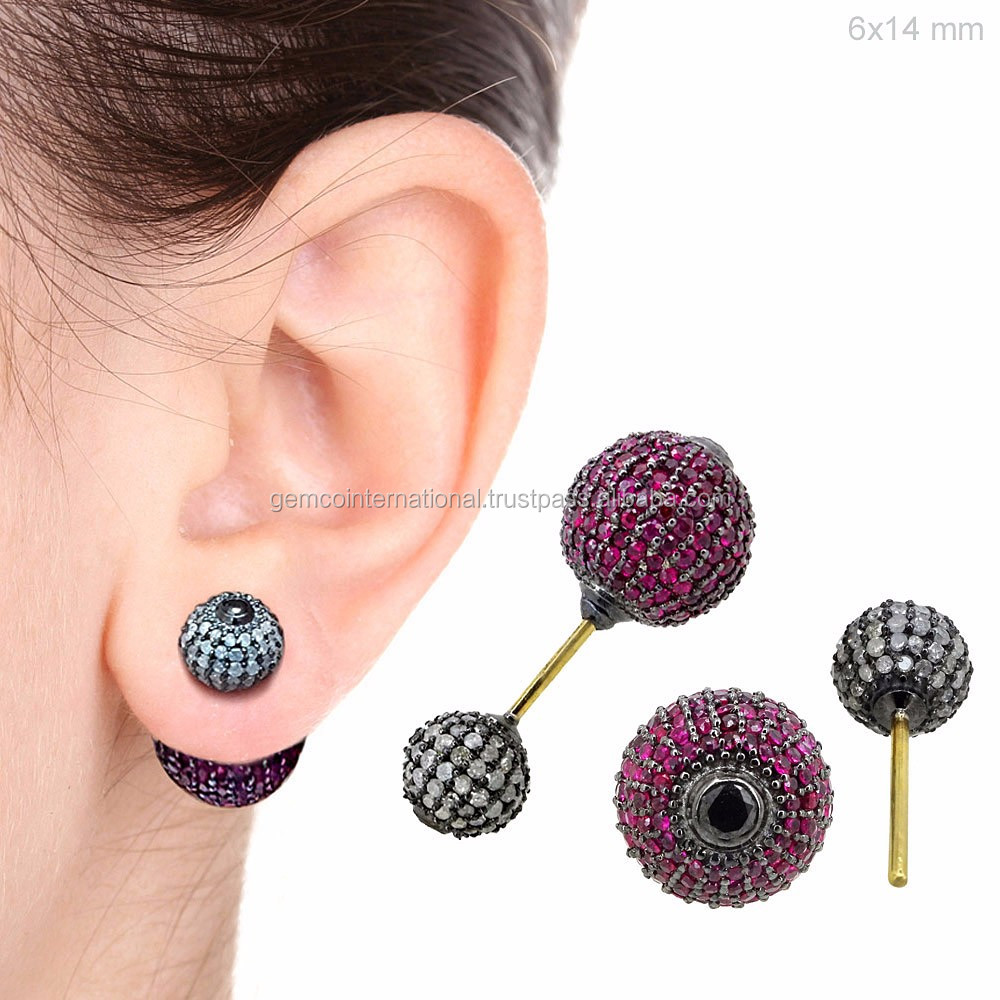 Silver Stud Jewelry Pave Diamond Indian Ruby Gemstone Double Ball Earrings