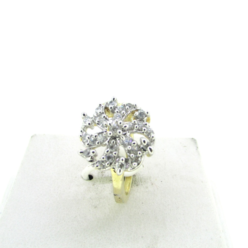 flower shaped american diamond ring