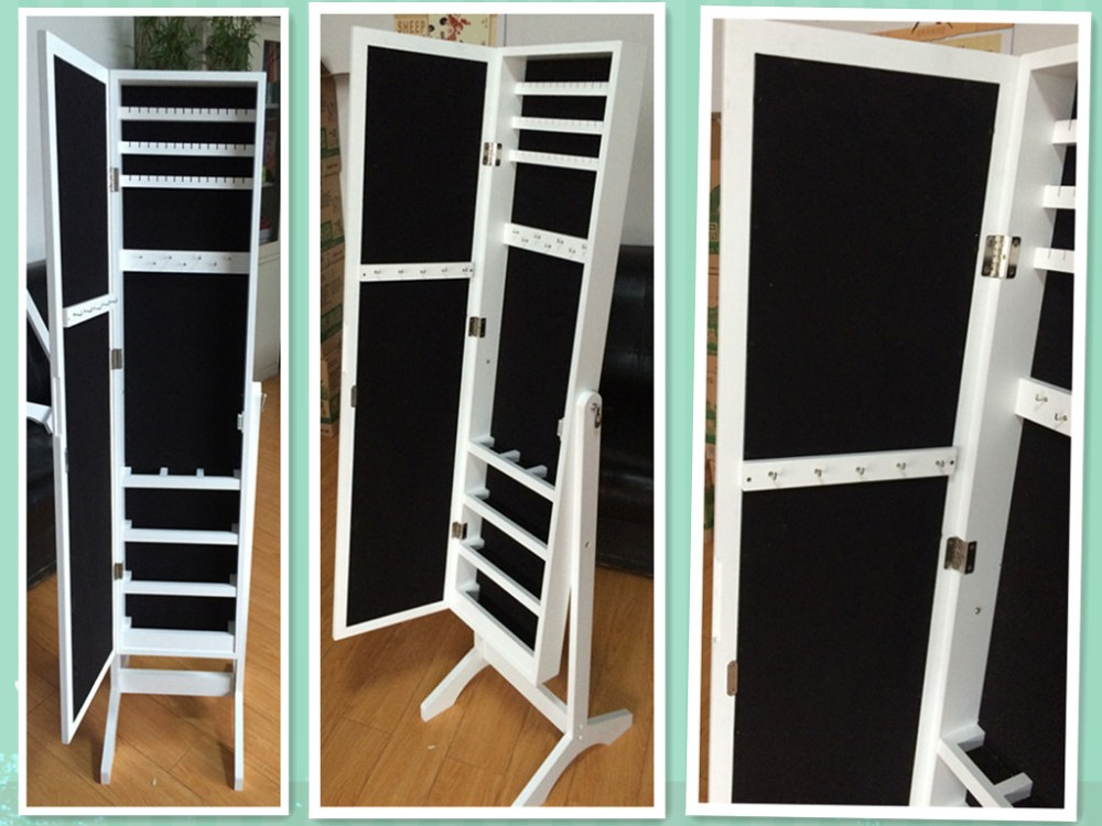 White Brown Black full length Elegant Storage Mirror Jewelry Cabinet