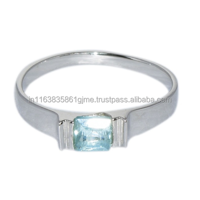 Sweet Women Silver Ring Jewelry with Blue Topaz Gemstone Solid 925 Sterling Silver Rings, Shine Jewel Low Price SHRI0152