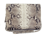 Natural python leather foldover zip clutch with detachable sling