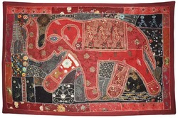 Indian Elephant Designer Cotton Wall Hanging , Elegance Handmade Marvelous Patch & Embroidery Work Tapestry ( wholesaler )