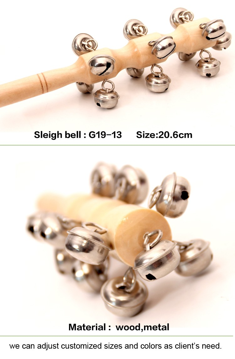 music gift for children hand  woody  ring the bell  Baby rattles wooden Jingle Stick with bells Sleigh Bells