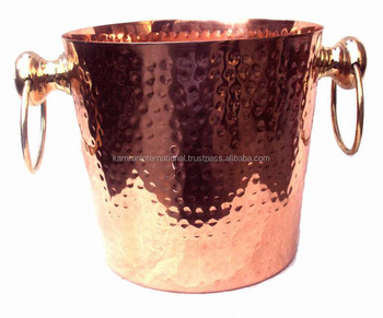 BPA FREE SOLID COPPER ICE BUCKET, 100% PURE COPPER WINE COOLER