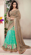 Green & Brown Color Saree With Blue Colour Blouse & Pink Embroidery Beauty Designer Sarees