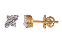 LOVELY 0.30 CTS NATURAL DIAMONDS G COLOR DIAMOND STUD EARRINGS IN SOLID BIS HALLMARK 18KT YELLOW GOLD - FACTORY PRICES