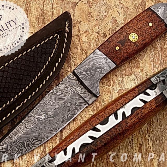 YORK VIVANT- CUSTOM HANDMADE DAMASCUS STEEL FIXED BLADE SKINNER KNIFE YVS-11. WALNUT WOOD + DAMASCUS + MOSAIC PIN HANDLE.