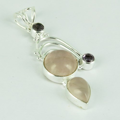 Living Planet Rose Quartz_Amethyst 925 Sterling Silver Pendant, Silver Jewellery, Wholesale Silver Jewelry