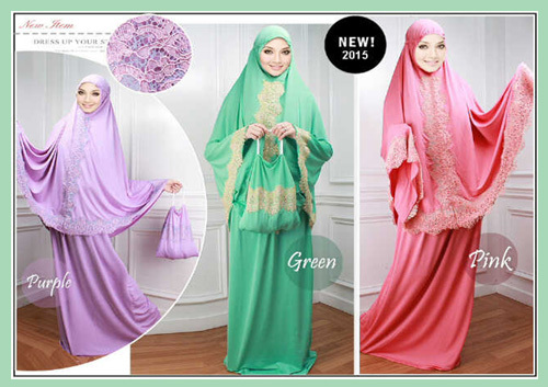 Cheap lycra telekung (Prayer dress) with lace