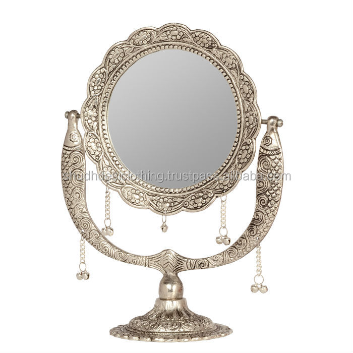 Beautiful round shape white metal stand mirror buy white for Silver stand up mirror