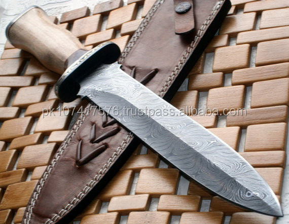 Damascus steel straight double Edge blade knife