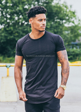 96% Cotton 4% Elastane Men's slim fit T-shirt, Short sleeves, Crew neck Fitted Long Line T-Shirt Black