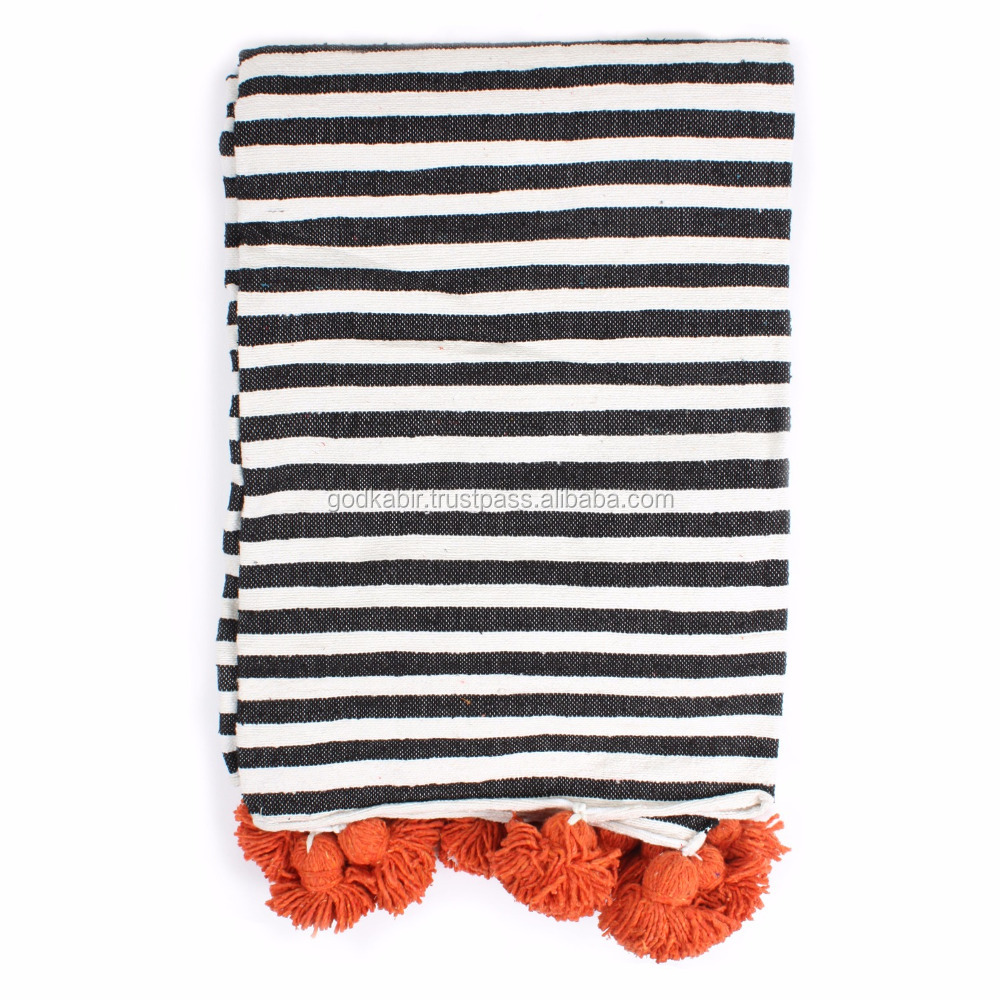 Best Special And beautiful look design Orange Cotton Stripe Pom Pom Blanket famous home decor blanket wholesale.