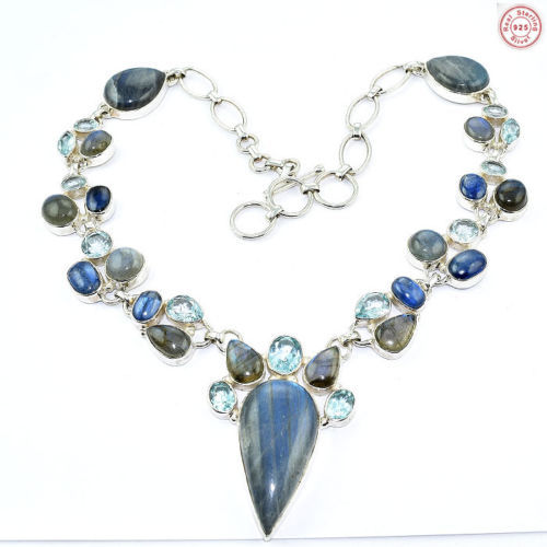 Latest multi women gemstone necklace offers 925 sterling silver necklace online wholesale silver jewelry