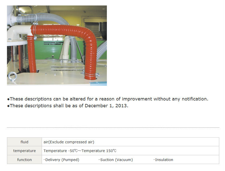 Insulated silicone rubber duct hose. Manufactured by Tigers Polymer. Made in Japan (heated hose)