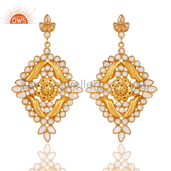 New Arrival Bridal CZ Earring Gold Plated 925 Silver Traditional Fashion Earrings Manufacturers of Indian Jewelry