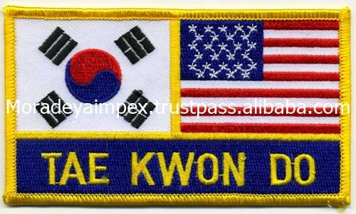 Korea with USA Embroidery Patches Custom Patches Sew on Embroidery Patches Iron on Laser Cut MIEP- 786369