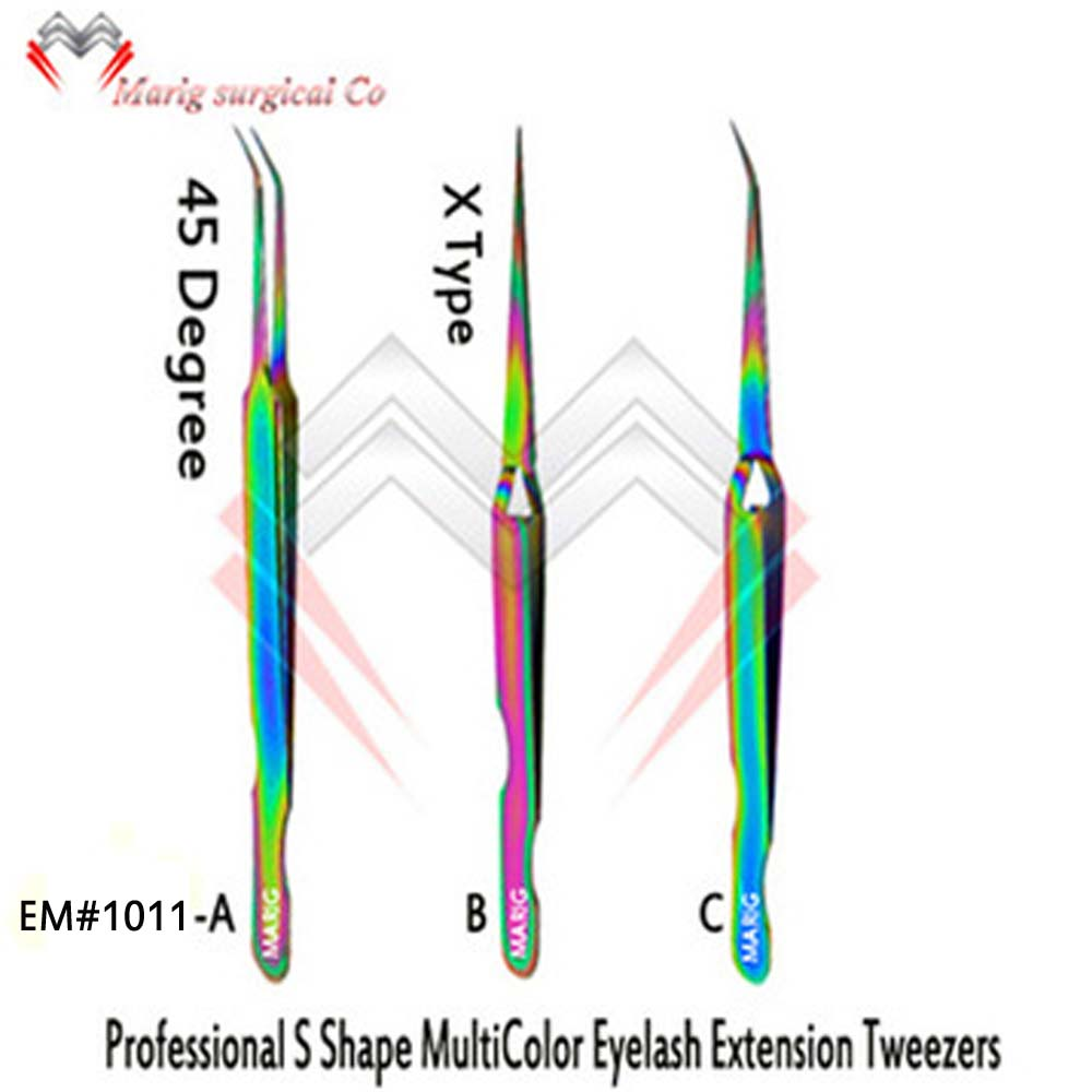 New precision Eyelash Tweezers Titanium stainless steel Fine Tip Tweezers