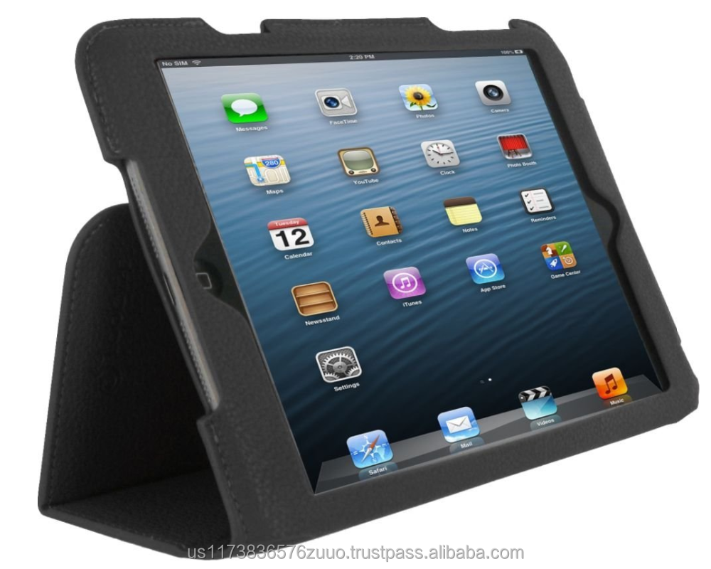 Ultra Slim Premium PU leather exterior, microfiber interior Lightweight Folio Stand Cover for iPad Mini (Black)