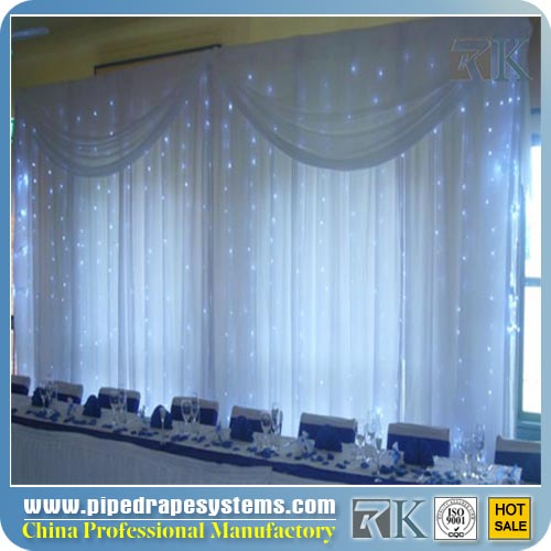 Pipe and Drape for Wedding Tent LED Automatic Curtain for Stage Wall Backdrop Trade Show Photo Booth