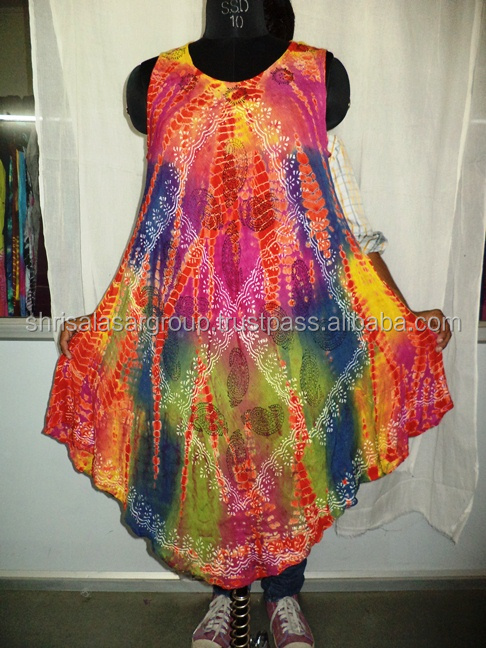 Rayon tie dye umbrella dress batik dresses free size garment from india