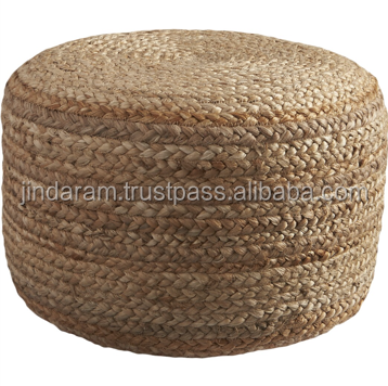 Braided Hemp Pouf