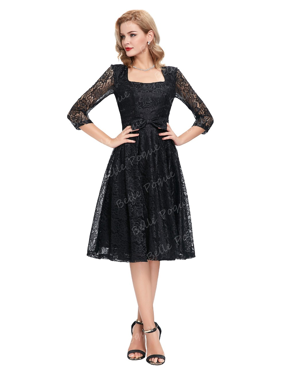 Belle Poque Stock 3/4 Sleeve Square Neck Black Lace 50s Retro Party Vintage Dress BP000048-1