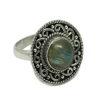 Blue Fire Round Labradorite Gemstone 925 Sterling Silver Ring, Wholesale Fashion Indian Online 2017 Jewelry