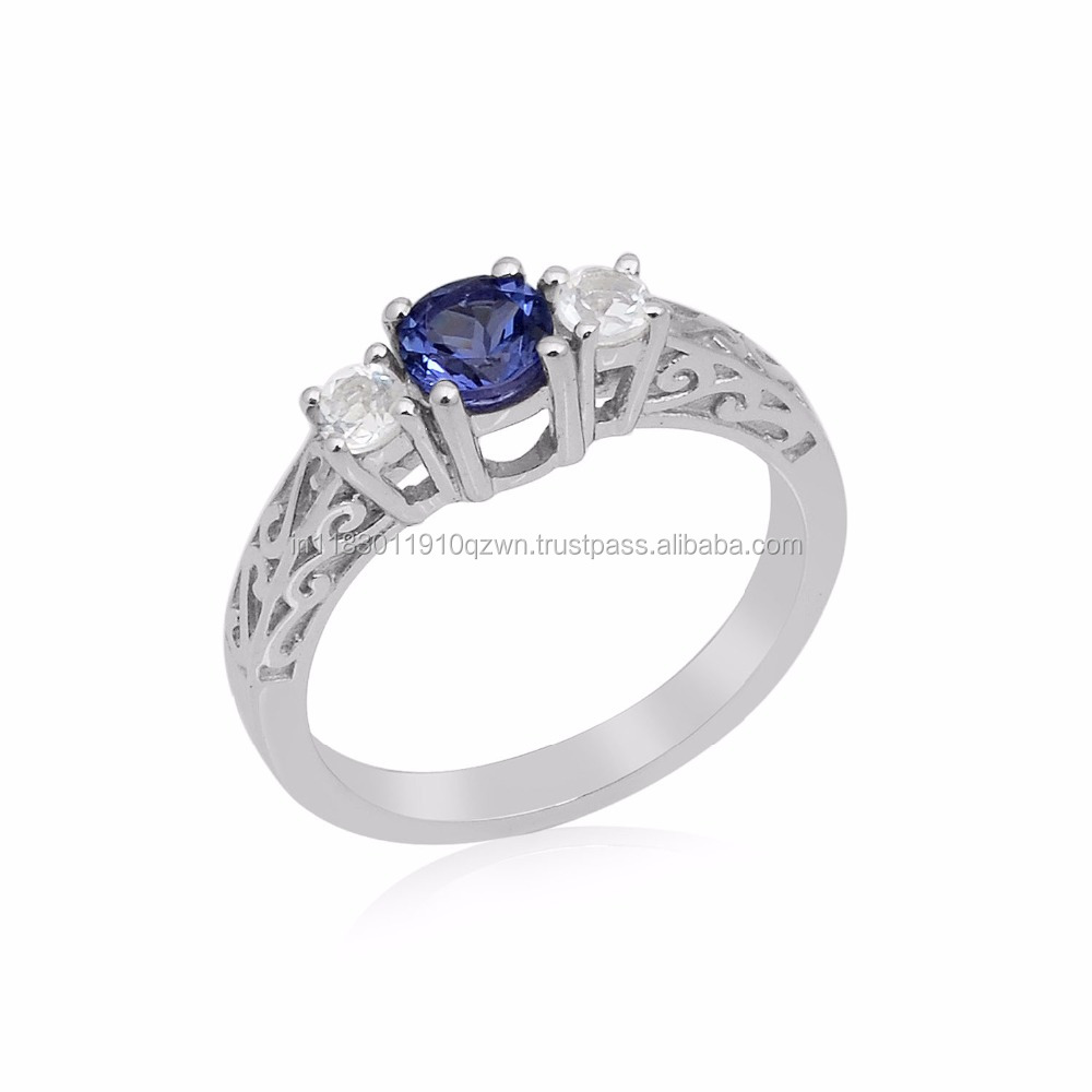 new arrival white topaz round tanzanite prices silver ring jewelry