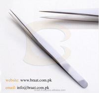 Braat Straight Polish Silver Straight Eyelash Tweezers Custom Brand Mark Eyelash Extension Straight Tweezer