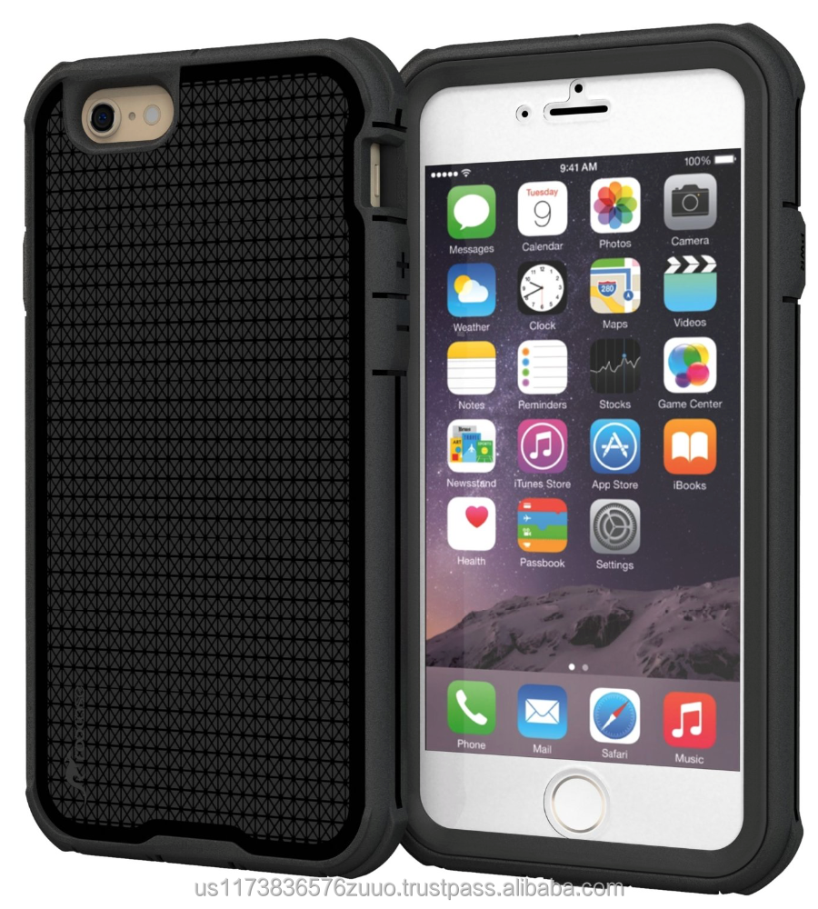 Rugged Armor Full Body Tough hybrid dual layer case for iPhone 6 6s 4.7 Drop protection and impact-resistance roocase (black)