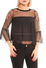 Transparent Long Sleeve Elegant Ladies Blouses With Embroidery