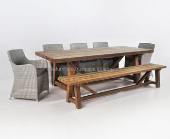 Wholesale Teak Dining Table Bench Rattan Chair Patio outdoor furniture