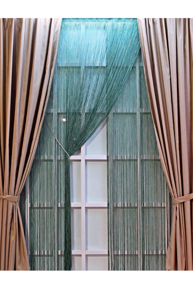 Luxury Beige Taffeta Fabric Curtain Panels and Dark Green Silvery Rope Curtain
