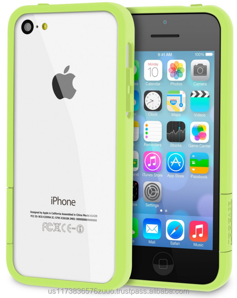 ProGuard Polycarbonate bumper case with high gloss finish for iPhone 5C roocase (Green)