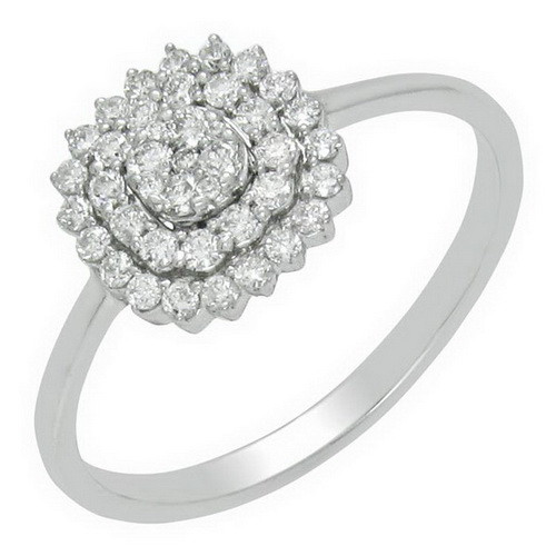 Wholesale Latest Design Round Shape Diamond Sterling Silver Ring for Girls